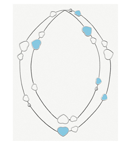 CHOPARD Happy Hearts 18ct white-gold, turquoise and diamond necklace
