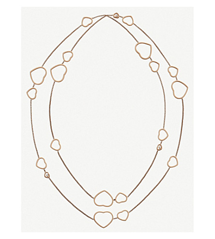 CHOPARD Happy Hearts 18ct rose-gold and diamond necklace