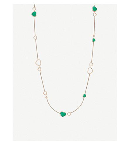 CHOPARD 快乐的心 Sautoir 18ct 玫瑰-金, 钻石和玛瑙项链
