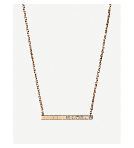 CHOPARD Ice Cube Pure 18ct rose-gold and diamond necklace