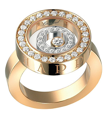 CHOPARD Happy Spirit 18ct rose-gold, white-gold and diamond ring