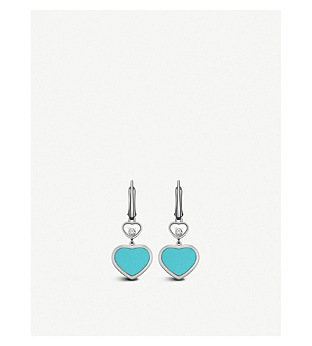 CHOPARD Happy Hearts 18ct white-gold, turquoise and diamond earrings