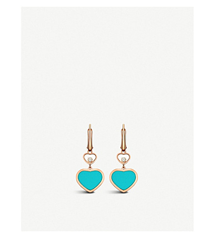 CHOPARD Happy Hearts 18ct rose-gold, diamond and turquoise earrings