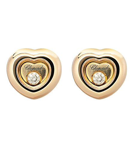 CHOPARD Miss Happy 18ct rose-gold and diamond earrings