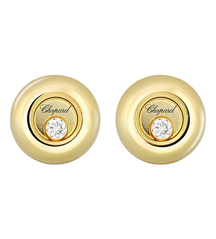 CHOPARD Miss Happy 18ct yellow-gold and diamond earrings