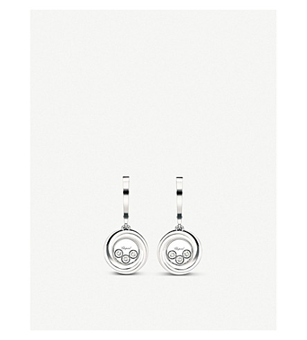 CHOPARD Happy Emotions 18ct white-gold and diamond earrings