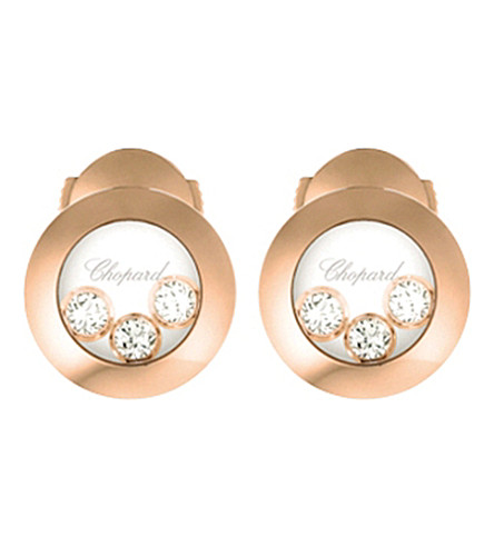 CHOPARD Happy Curves 18ct rose gold and diamond earrings