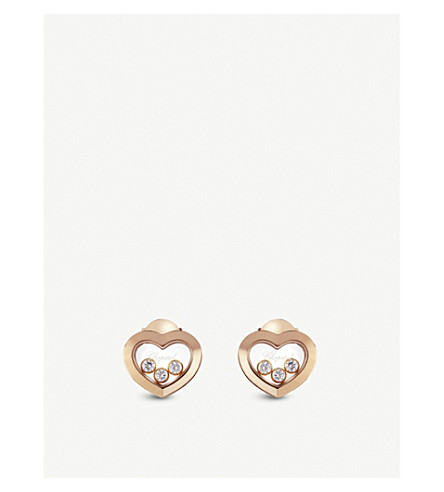 CHOPARD Happy Diamonds Icons 18ct rose-gold and diamond earrings