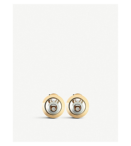 CHOPARD Happy Spirit 18ct rose-gold, white-gold and diamond earrings