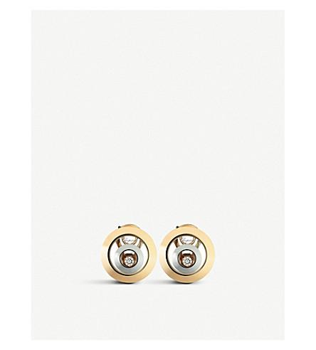 CHOPARD 快乐的精神18ct 玫瑰黄金, 白色黄金和钻石耳环