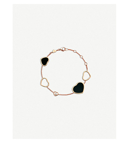 CHOPARD Happy Hearts 18ct rose-gold, onyx and diamond bracelet