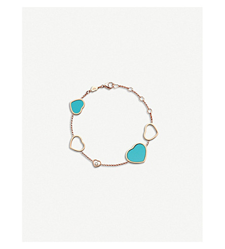 CHOPARD Happy Hearts 18ct rose-gold, diamond and turquoise bracelet