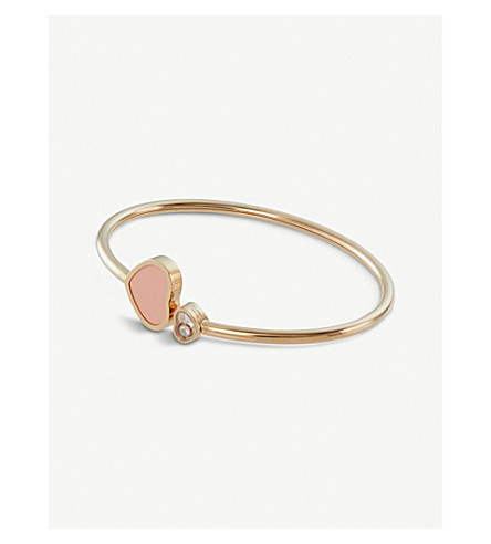 CHOPARD Happy Hearts 18ct rose-gold, diamond and coral bangle