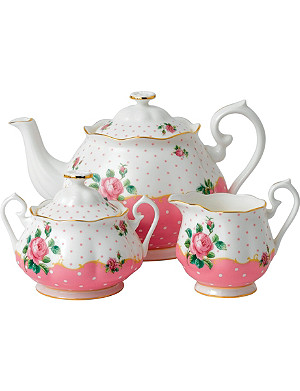 ROYAL ALBERT Cheeky Pink teapot, sugar and cream 3 piece set