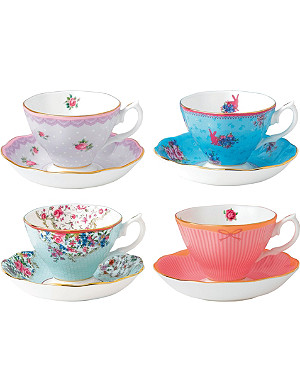 ROYAL ALBERT Candy set of four fine bone china teacups and saucers