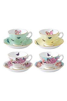 ROYAL ALBERT Miranda Kerr set of four teacups & saucers