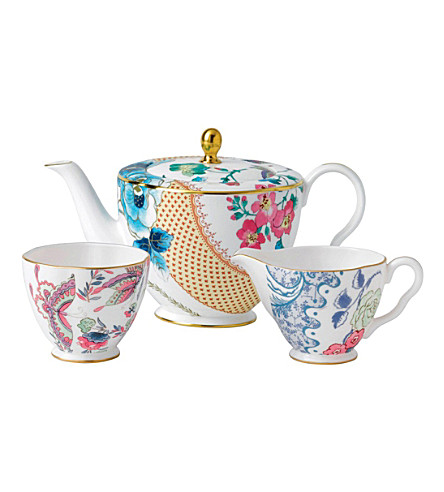 WEDGWOOD Butterfly Bloom 3-piece tea set