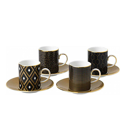 WEDGWOOD Arris espresso cups and saucers set of 4