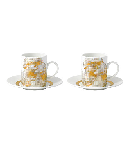 WEDGWOOD Gilded muse set of two espresso cups and saucers
