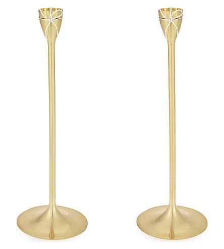 VERA WANG @ WEDGWOOD Taper silver-plated candle holder pair