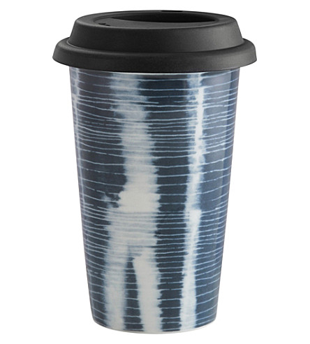 VERA WANG @ WEDGWOOD Stripe ceramic travel mug