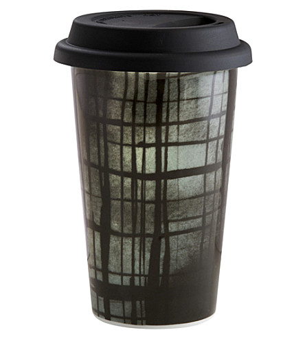VERA WANG @ WEDGWOOD Plaid ceramic travel mug
