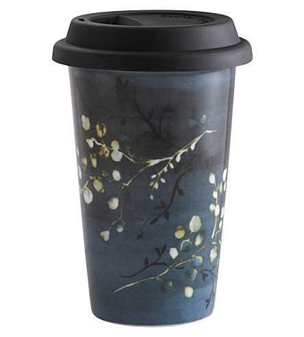 VERA WANG @ WEDGWOOD Floral ceramic travel mug