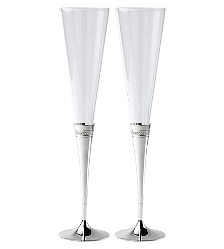 WEDGWOOD Simply Wish glass toasting flutes