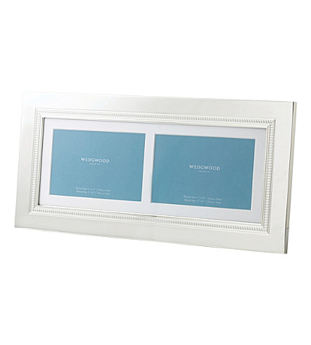 WEDGWOOD Simply Wish silver-plated double photo frame