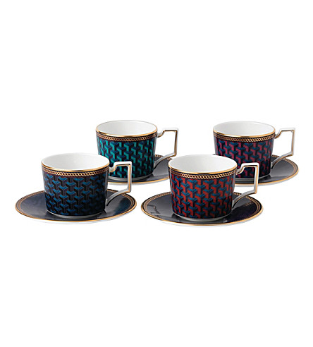 WEDGWOOD Byzance china espresso cups & saucers