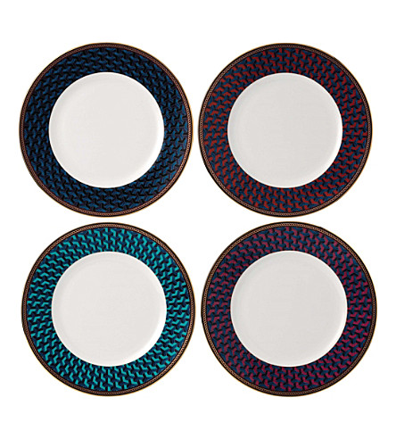 WEDGWOOD Byzance fine bone china and 22ct gold set of four plates