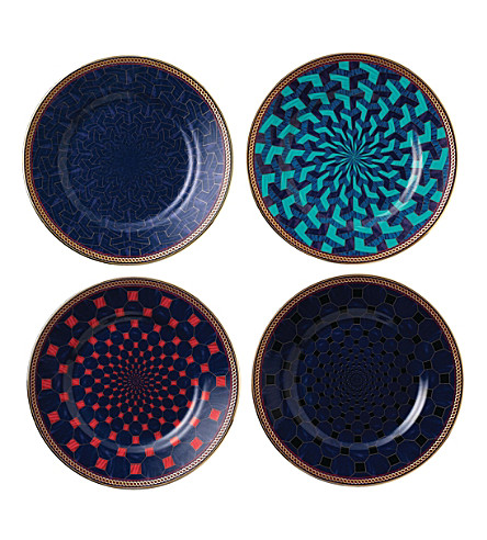 WEDGWOOD Byzance set of four china plates