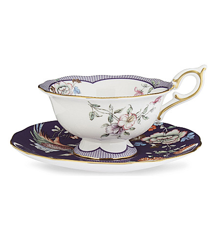 WEDGWOOD Wonderlust Midnight Crane teacup and saucer