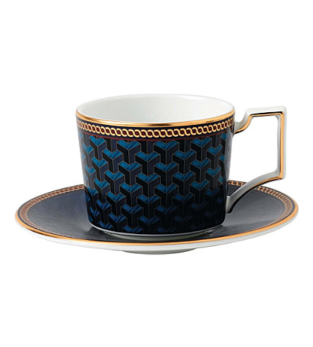 WEDGWOOD Byzance fine bone china and 22ct gold espresso cup and saucer