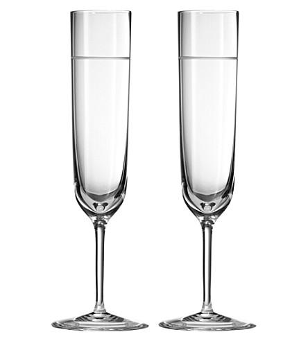 VERA WANG @ WEDGWOOD Bande crystal toasting flutes pair