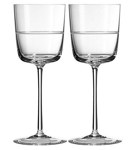 VERA WANG @ WEDGWOOD Bande crystal wine glasses pair