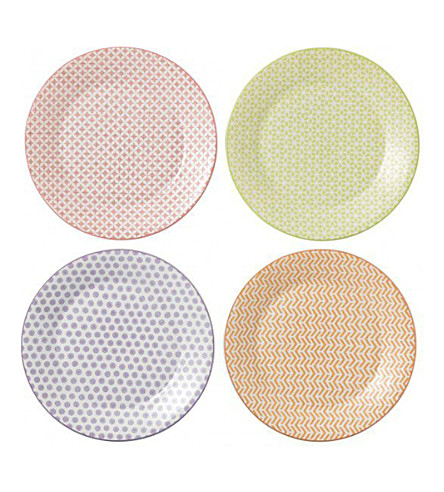 ROYAL DOULTON Set of four pastel melamine plates