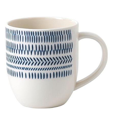 ROYAL DOULTON Ellen De Generes Cobalt Blue Chevron mug 400ml