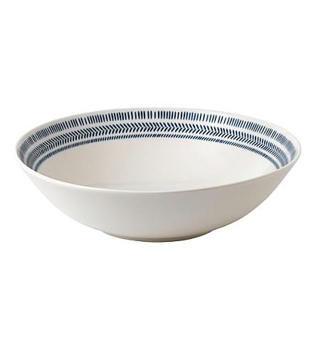 ROYAL DOULTON Ellen De Generes Cobalt Blue Chevron bowl 29cm