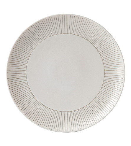 ROYAL DOULTON Ellen DeGeneres Taupe Stripe porcelain plate 28cm
