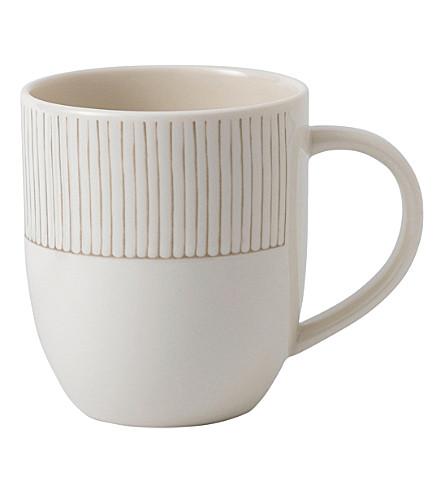 ROYAL DOULTON Ellen DeGeneres Taupe Stripe porcelain mug
