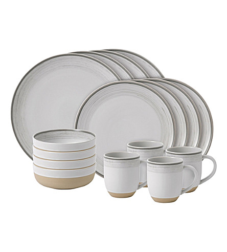 ROYAL DOULTON Ellen DeGeneres Brushed Glaze Soft White 16-piece dining set
