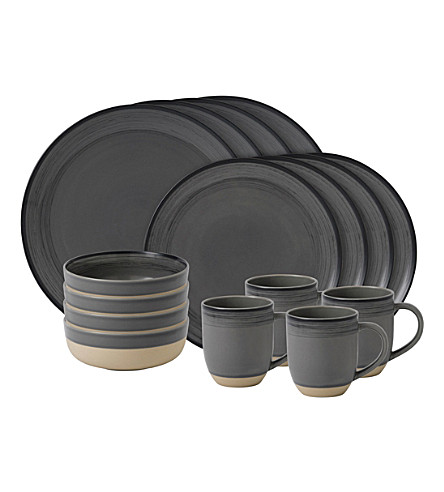 ROYAL DOULTON Ellen DeGeneres Brushed Glaze Charcoal Grey 16-piece dining set