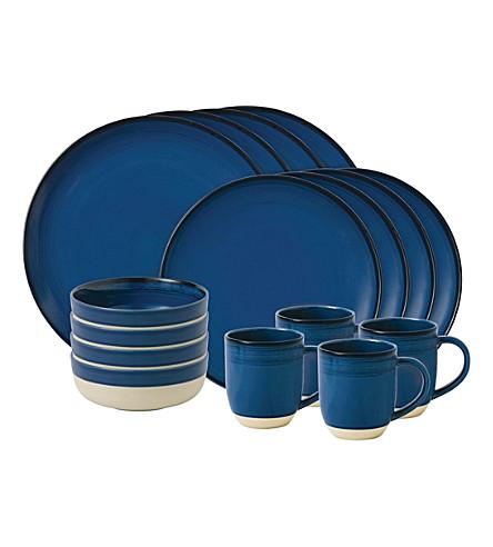 ROYAL DOULTON Ellen DeGeneres Brushed Glaze Cobalt 16-piece tableware set