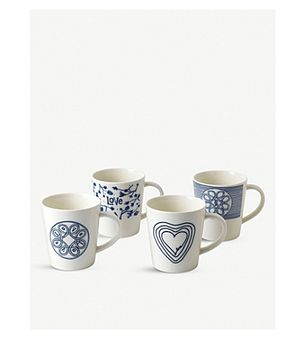 ROYAL DOULTON Ellen DeGeneres Accent set of 4 mugs
