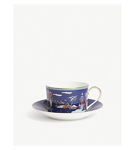 WEDGWOOD Wonderlust Blue Pagoda teacup and saucer