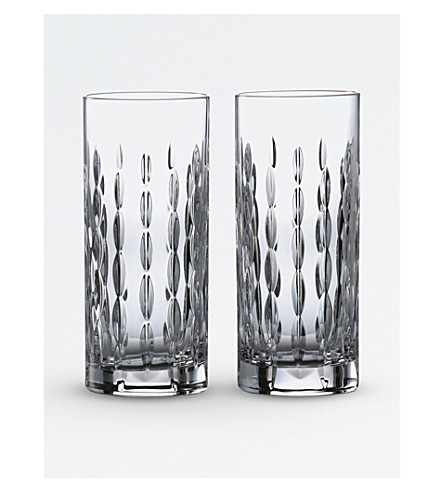 ROYAL DOULTON Neptune crystal hi ball glasses (set of 2)