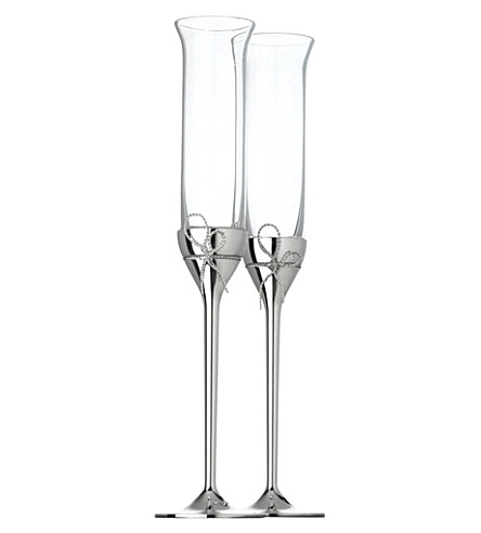 VERA WANG @ WEDGWOOD Set of two Love Knots toasting flutes