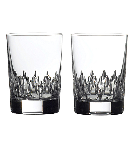 VERA WANG @ WEDGWOOD Duchesse set of 2 Old Fashioned crystal glasses