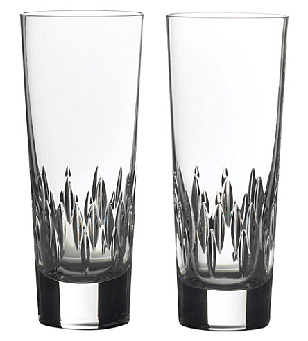 VERA WANG @ WEDGWOOD Duchesse set of 2 crystal hi-ball glasses